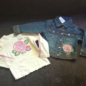 The Childrens Place Girls Jean Jacket and Tee 18mo